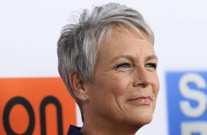 Jamie Lee Curtis silver pixie cut