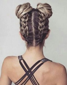 Space bun braids - braided updo ideas
