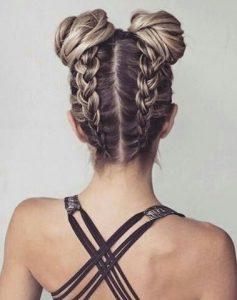 Space bun braids - braided updo ideas